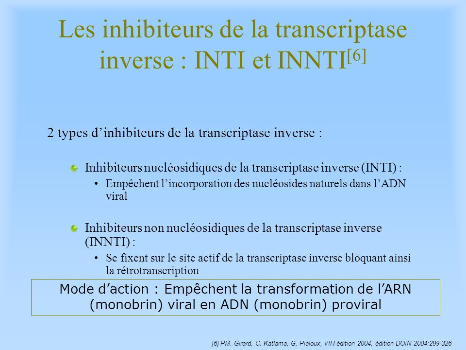 Les inhibiteurs de la transcriptase inverse : INTI et INNTI[6]